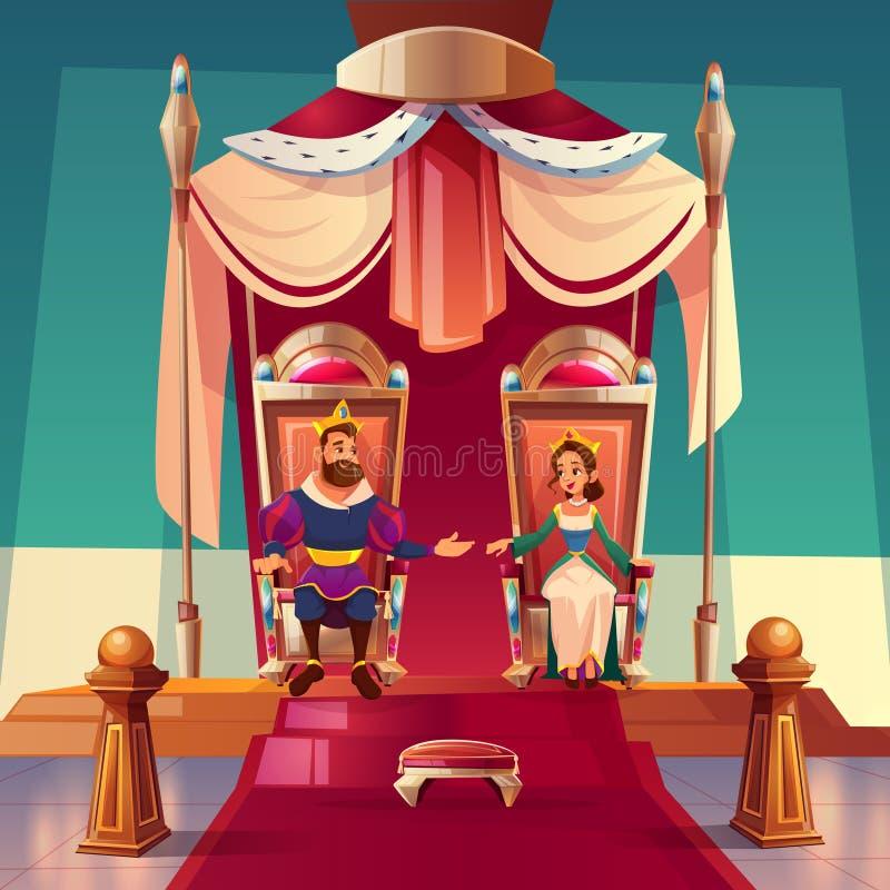 Roi et reine s'asseyant sur des trônes dans le palais royal illustration de vecteur