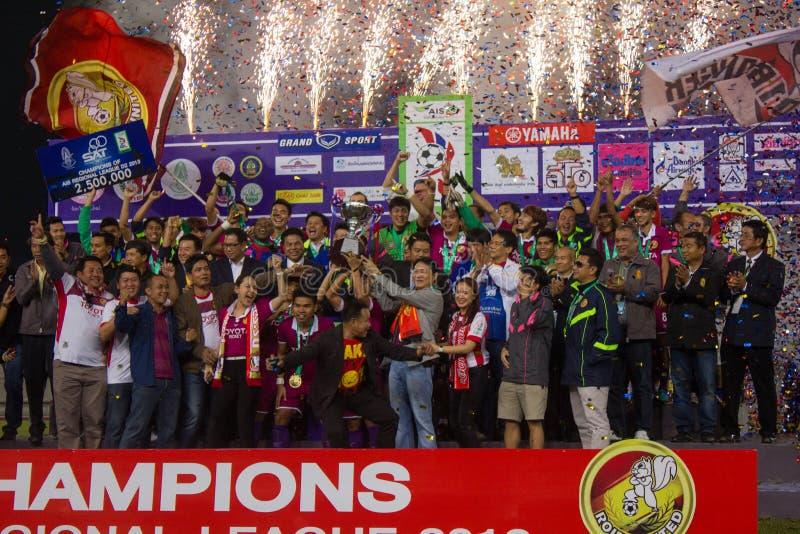 Roi-Et Thailand D2 league Champiobs. Roi-Et United win football game in Thailand Regional league D2 champions 2013 in Thailand stock image