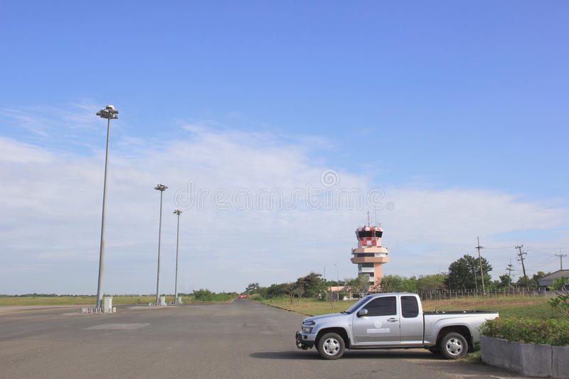 ROI ET, THAILAND - NOV01, 2015:Roi Et Airport runway of a small. Airport with few flights, the flight landed stock photos