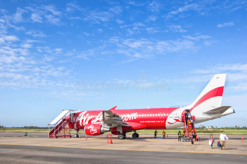 ROI ET, THAILAND - NOV01, 2015: Thai Air Asia Plane landed at Roi et airport on June 18, 2015 in Roi et, Thailand. Air Asia. Company is the largest low cost royalty free stock images