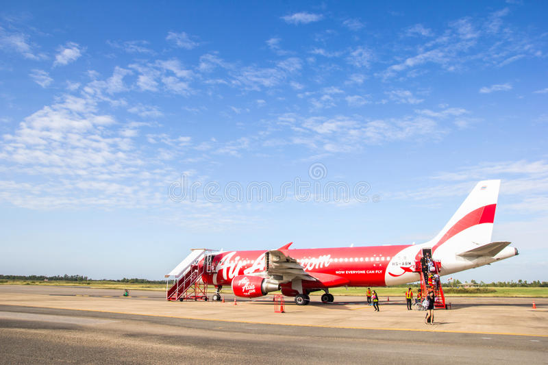 ROI ET, THAILAND - NOV01, 2015: Thai Air Asia Plane landed at Roi et airport on June 18, 2015 in Roi et, Thailand. Air Asia. Company is the largest low cost royalty free stock photography