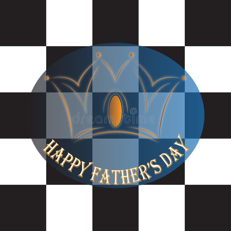 Roi heureux de couronne d'échecs de jour du ` s de père illustration stock