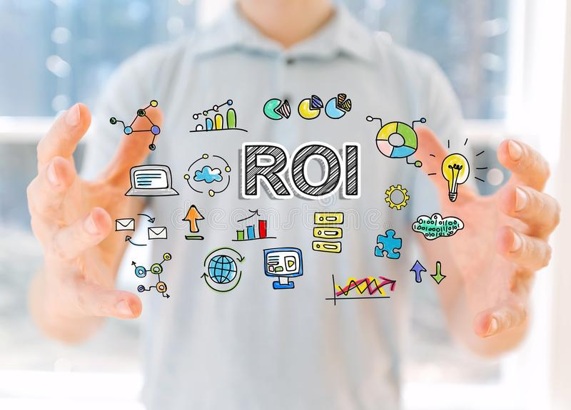 ROI with man holding his hands. ROI with young man holding his hands royalty free stock photo