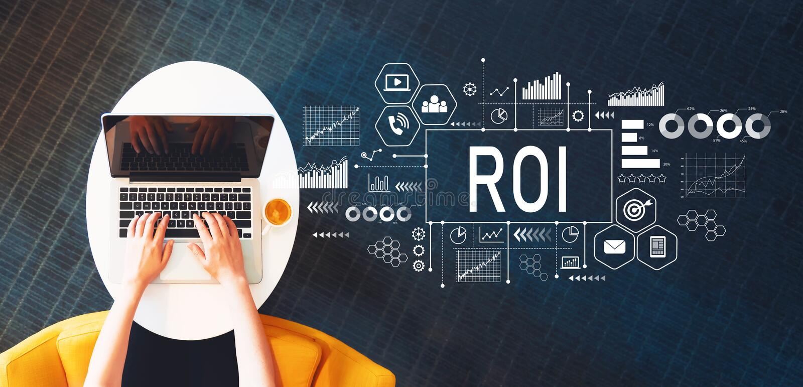 ROI with person using a laptop. On a white table royalty free stock photography
