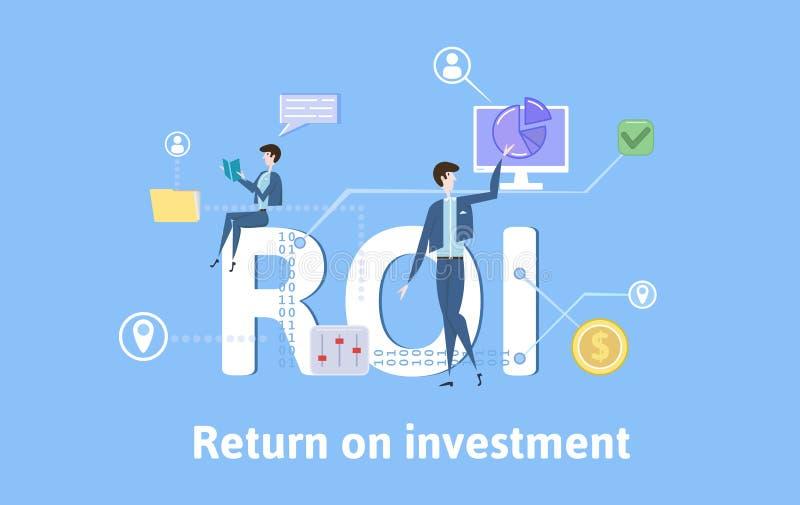 ROI, rentabilidad de la inversión Tabla del concepto con palabras claves, letras e iconos Ejemplo plano coloreado del vector en a libre illustration