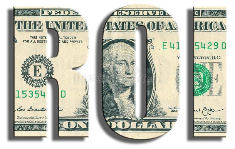 ROI - rentabilidad de la inversión Textura del dólar de EE. UU. foto de archivo libre de regalías