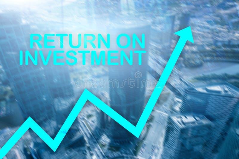 ROI - rentabilidade do investimento Compra e venda de a??es e conceito financeiro do crescimento no fundo borrado do centro de ne imagens de stock royalty free