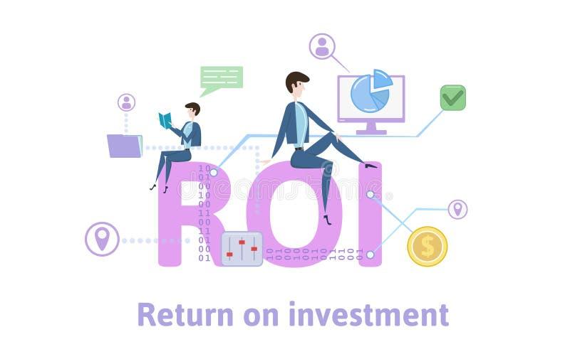 ROI, retour sur l'investissement Table de concept avec des mots-clés, des lettres et des icônes Illustration plate colorée de vec illustration de vecteur