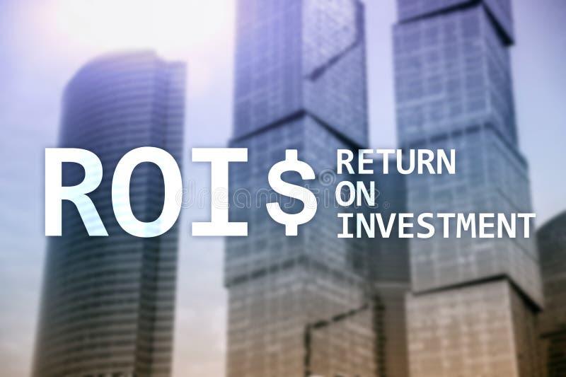 ROI - Retur på investering-, finansmarknad- och materielhandelbegrepp royaltyfria bilder