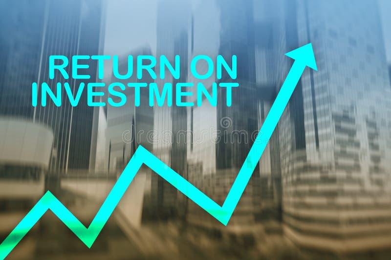 ROI - retur p? investering Materielhandel och finansiellt tillv?xtbegrepp p? suddig bakgrund f?r aff?rsmitt arkivfoto