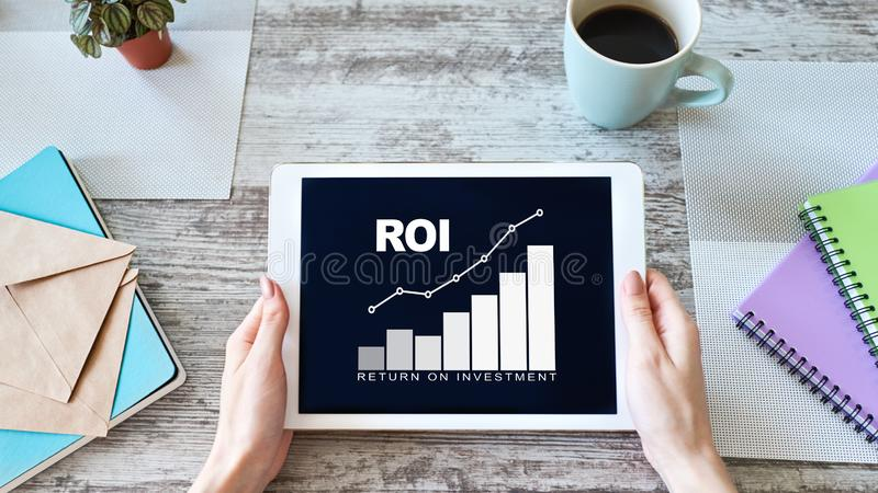 ROI, Return on investment, Business and financial concept. ROI, Return on investment, Business and financial concept stock photography