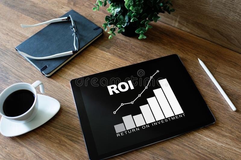 ROI, Return on investment, Business and financial concept. ROI, Return on investment, Business and financial concept royalty free stock images