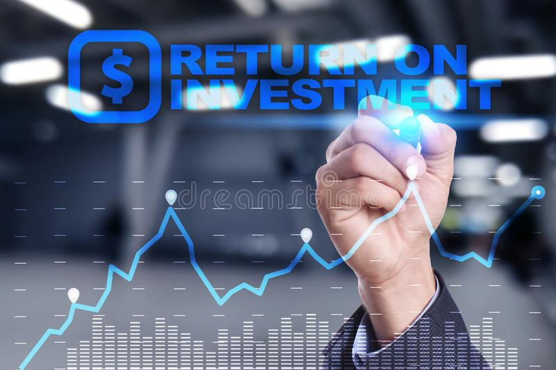 ROI, Return on investment business and technology concept. Virtual screen background. ROI, Return on investment business and technology concept. Virtual screen royalty free stock photo