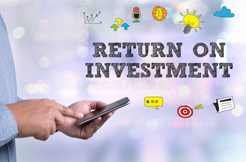 ROI RETURN ON INVESTMENT Businessman work ROI royalty free stock images