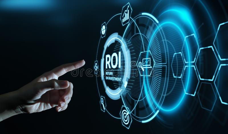 ROI Return on Investment Finance Profit Success Internet Business Technology Concept.  royalty free stock image