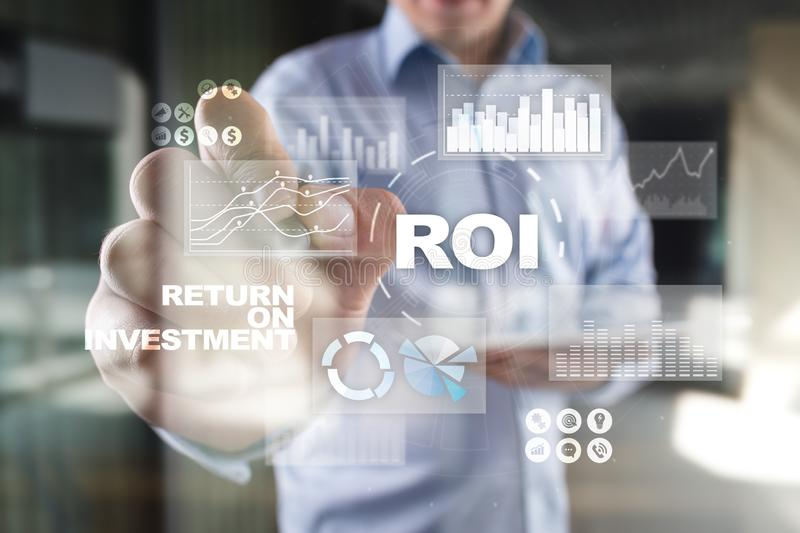 ROI Return on investment. Financial market Trading and Economic concept on virtual screen. ROI Return on investment. Financial market Trading and Economic royalty free stock photo