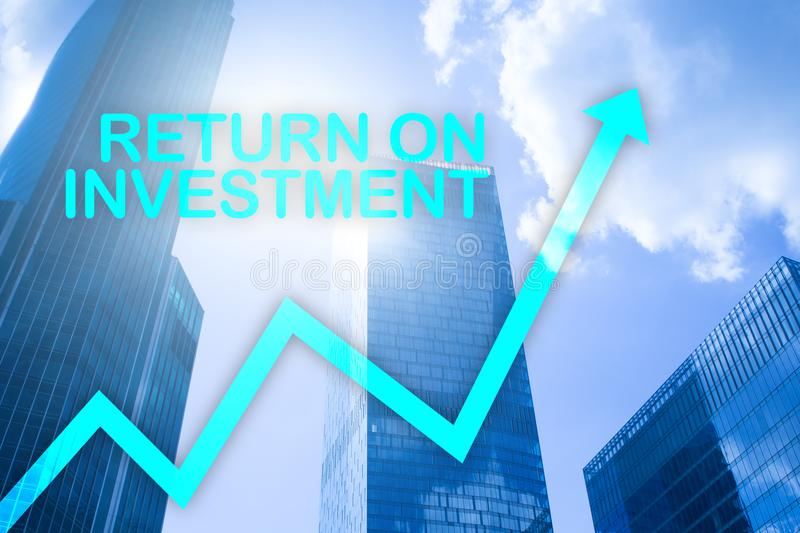 ROI - Return on investment. Stock trading and financial growth concept on blurred business center background.  stock photo