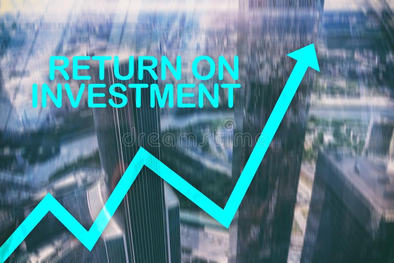ROI - Return on investment. Stock trading and financial growth concept on blurred business center background.  stock image
