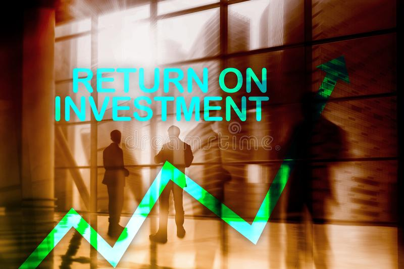 ROI - Return on investment. Stock trading and financial growth concept on blurred business center background.  stock photos