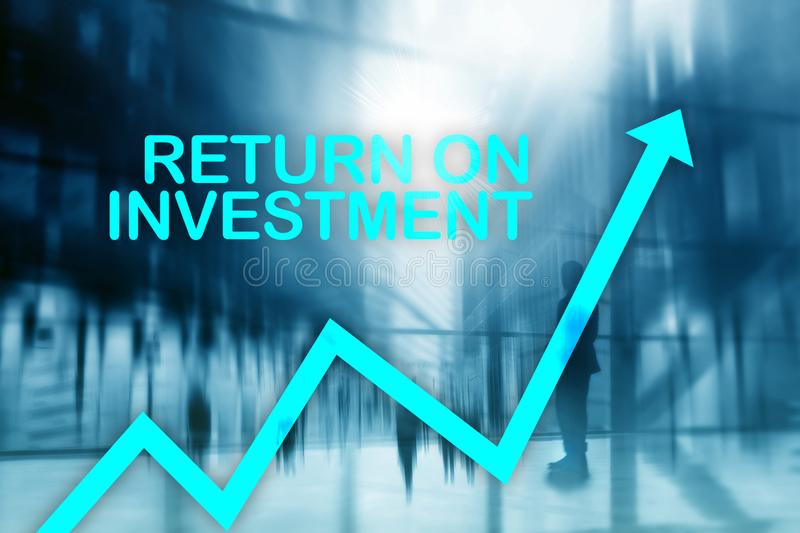 ROI - Return on investment. Stock trading and financial growth concept on blurred business center background.  royalty free stock photo