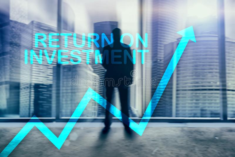 ROI - Return on investment. Stock trading and financial growth concept on blurred business center background stock images