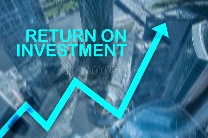 ROI - Return on investment. Stock trading and financial growth concept on blurred business center background. royalty free stock photos