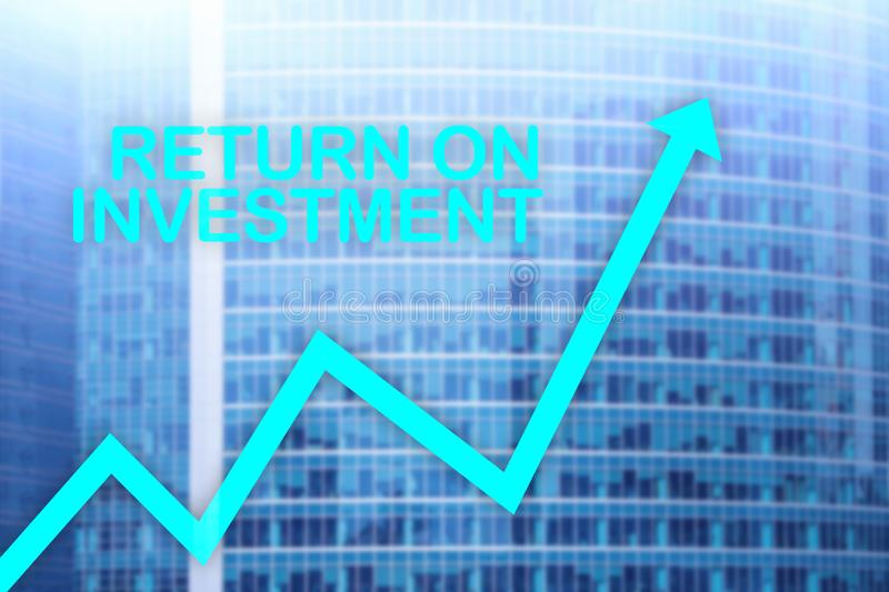 ROI - Return on investment. Stock trading and financial growth concept on blurred business center background. royalty free stock photography