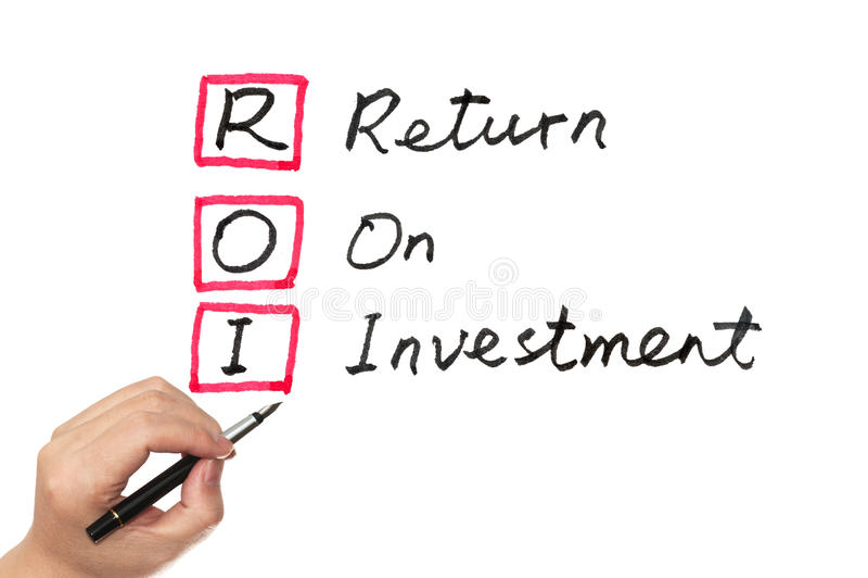 ROI. (return on investment) words written on white board stock images