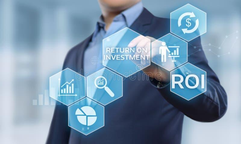 ROI Return no conceito da tecnologia do negócio do Internet do sucesso do lucro da finança do investimento imagens de stock