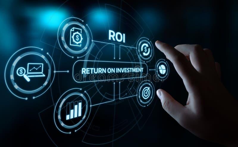 ROI Return no conceito da tecnologia do negócio do Internet do sucesso do lucro da finança do investimento imagem de stock royalty free