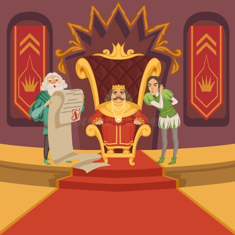 Roi sur le trône et sa suite Personnages de dessin animé réglés illustration stock