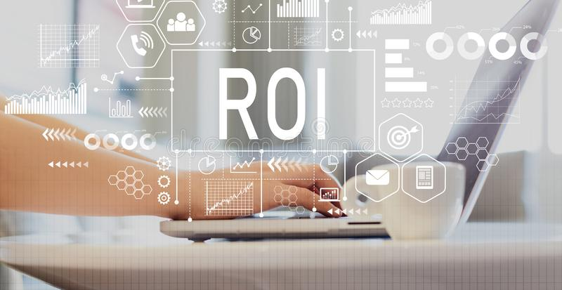 ROI with woman using a laptop. On a coffee table royalty free stock photos