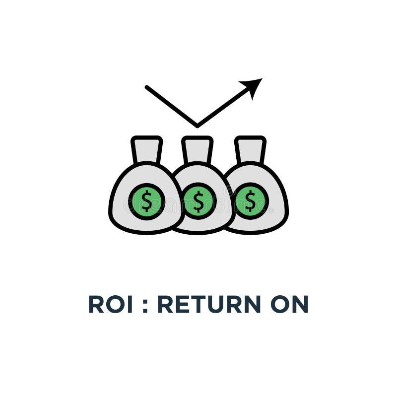 roi: wskaźnik rentowności ikona pieniądze toreb, dywidendy, zysku lub pieniężnego dochodu strategia, pojęcie symbolu projekt, pap ilustracji