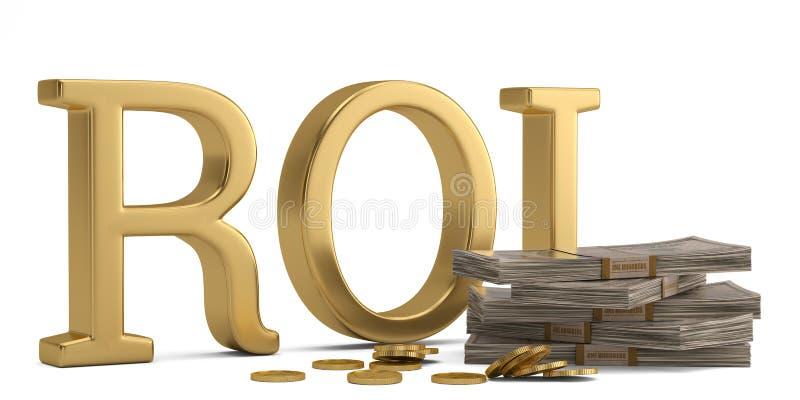 ROI y dólar aislados en el ejemplo blanco del fondo 3D stock de ilustración
