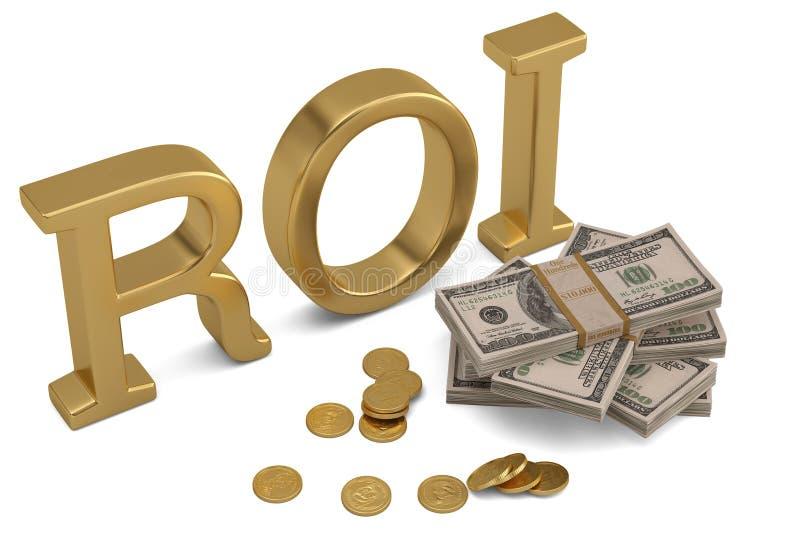 ROI y dólar aislados en el ejemplo blanco del fondo 3D ilustración del vector