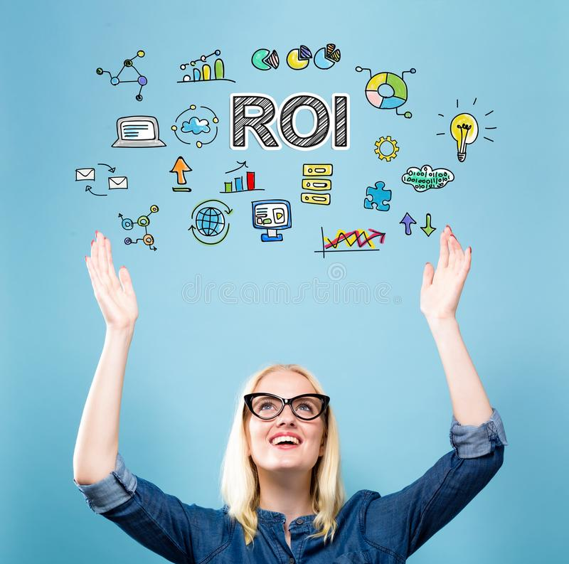 ROI with young woman. Reaching and looking upwards royalty free stock photos