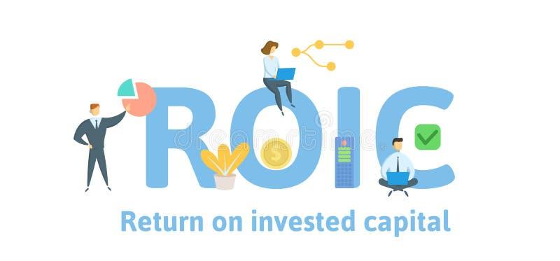 ROIC, возвращение на проинвестированную столицу Концепция с людьми, письмами и значками r r иллюстрация штока