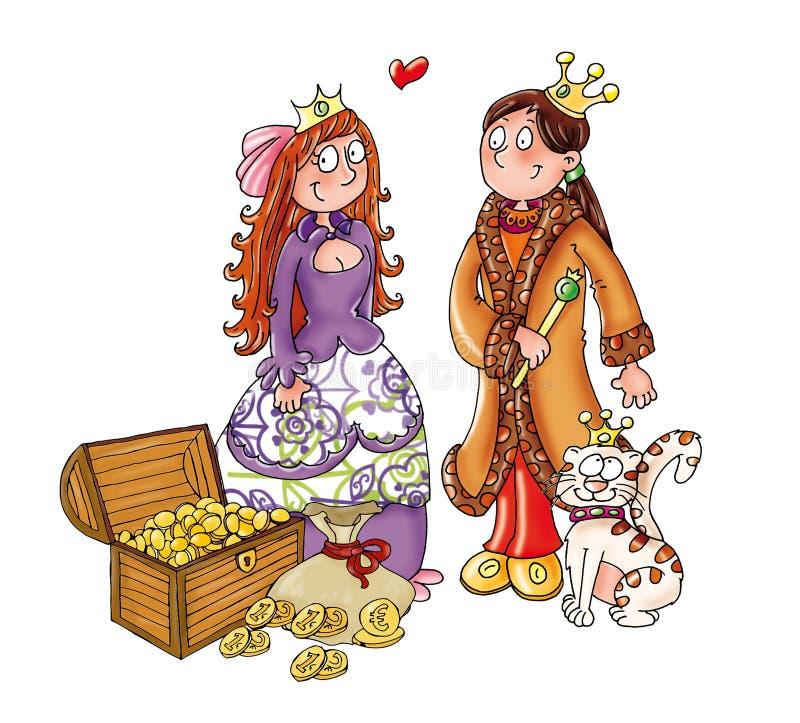 Rois avec le chat de reines avec l'argent illustration stock
