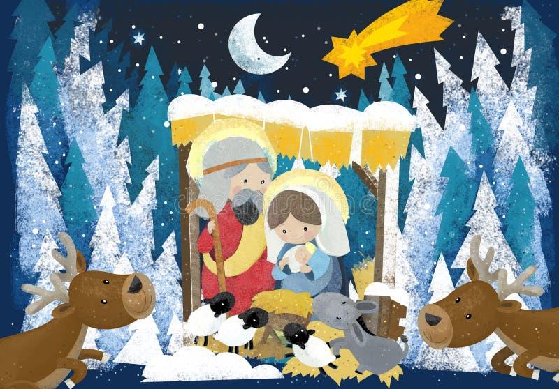 Rois religieux de l'illustration trois - et famille sainte dans la scène d'hiver - scène traditionnelle illustration de vecteur