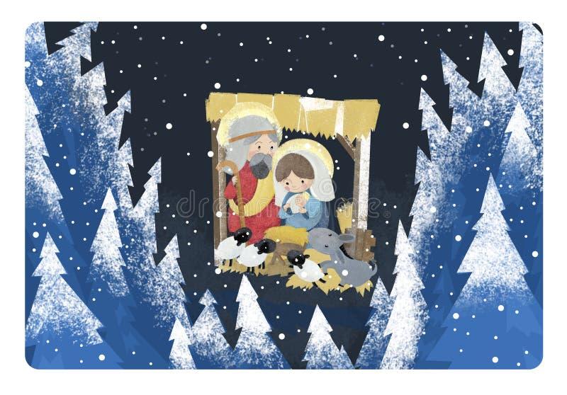 Rois religieux de l'illustration trois - et famille sainte en hiver illustration stock