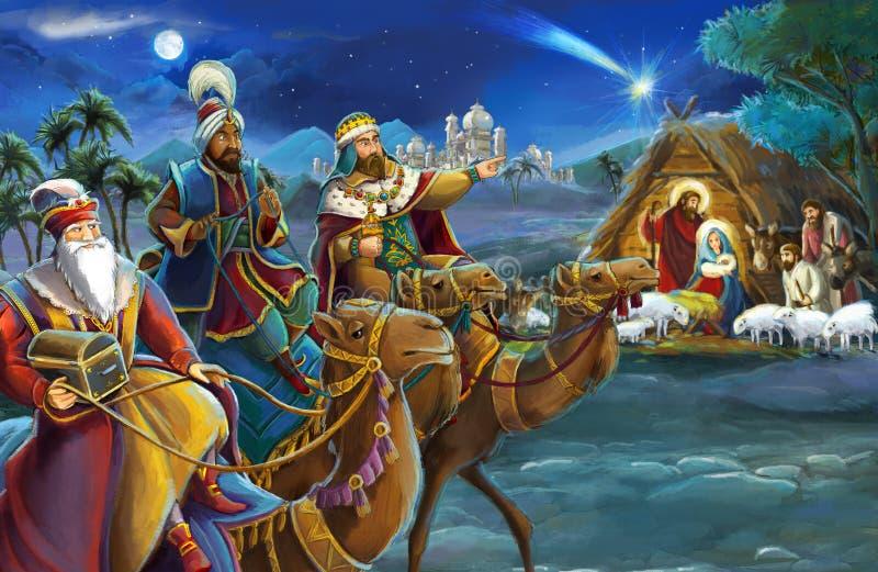 Rois religieux de l'illustration trois - et famille sainte - scène traditionnelle illustration stock