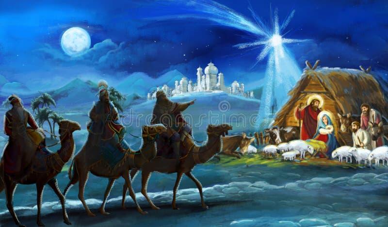 Rois religieux de l'illustration trois - et famille sainte - scène traditionnelle illustration libre de droits
