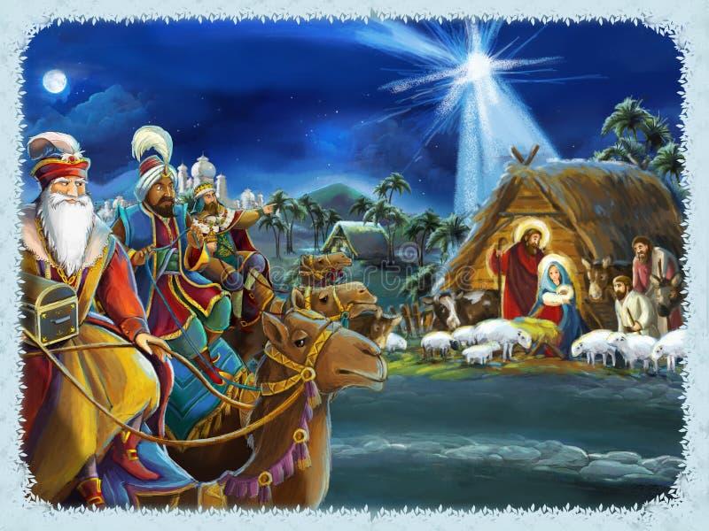 Rois religieux de l'illustration trois - et famille sainte - scène traditionnelle illustration de vecteur