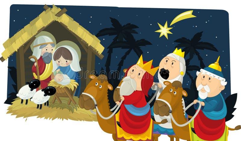 Rois religieux de l'illustration trois - et famille sainte - tradition illustration libre de droits
