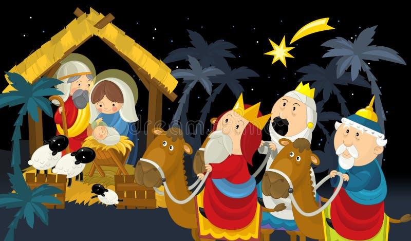 Rois religieux de l'illustration trois - et famille sainte - tradition illustration stock