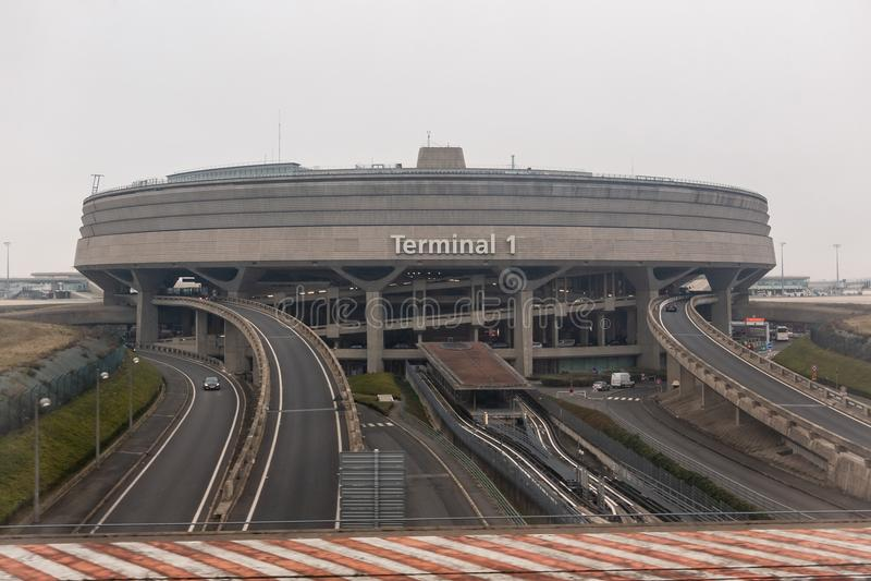Roissyterminal 1, Parijs Charles de Gaulle Airport, Frankrijk stock fotografie