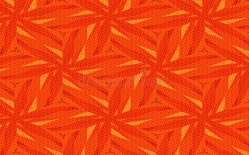 Rojo anaranjado y fondo floral geométrico abstracto amarillo textura áspera para los diseños creativos ilustración del vector