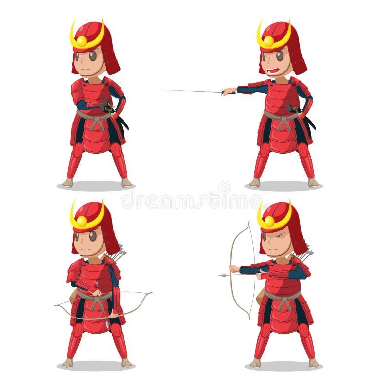 Rojo Armor Character Vector del samurai de Japón ilustración del vector