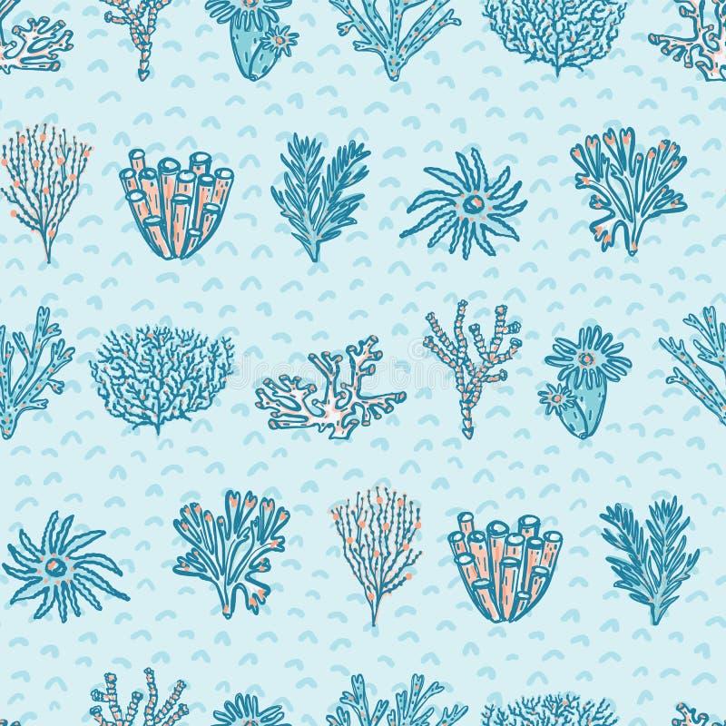 Rojo azul Coral Geometric Kids Ocean Aqua ilustración del vector