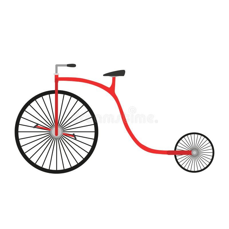 Rojo blanco aislado ejemplo retro del transporte del fondo del deporte del diseño de la bici del vector del vintage de la bicicle stock de ilustración